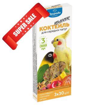 Лакомство для средних попугаев Природа Коктейль Колосок Мультифрукт Орех Цитрус 90 г