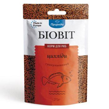 Сухой корм для аквариумных рыб Природа в палочках Биовит «Цихлиды» 25 г (для плотоядных цихлид)