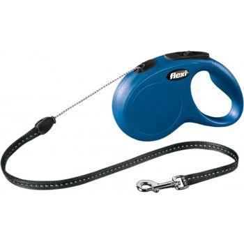 Поводок-рулетка Flexi New Classic S, 5 м, трос, синий