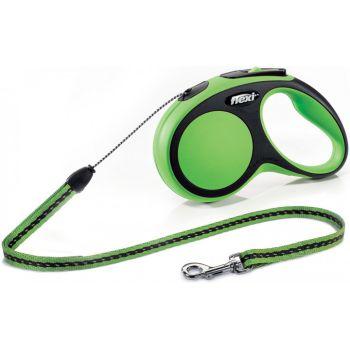 Поводок-рулетка Flexi New Comfort S, 5 м, трос, зеленый