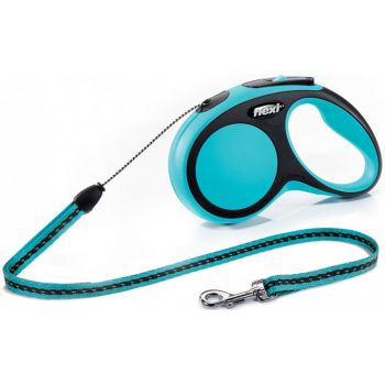 Поводок-рулетка Flexi New Comfort S, 5 м, трос, синий