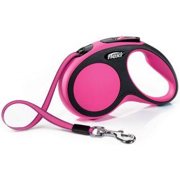 Поводок-рулетка Flexi New Comfort S, 5 м, лента, розовый