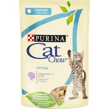 Влажный корм для котят Purina Cat Chow Kitten с индейкой и цуккини 85 г