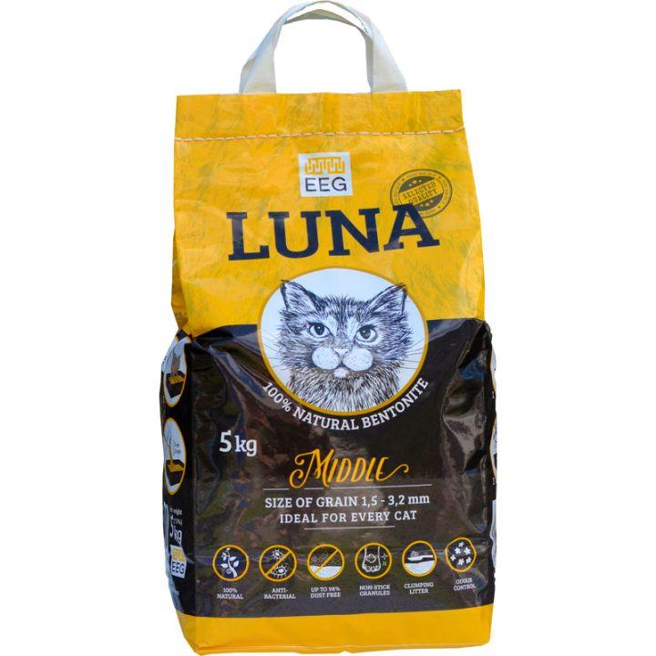 Бентонитовый (глиняный) наполнитель для кошачьего туалета Luna Middle 5 кг