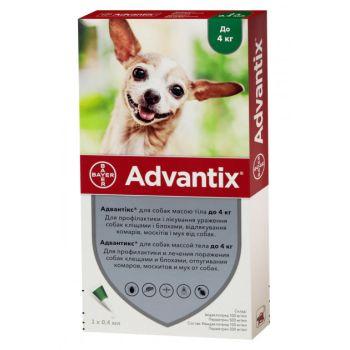 Капли на холку от блох и клещей Bayer Advantix для собак весом до 4 кг 4 х 0,4 мл