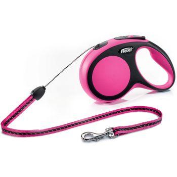 Поводок-рулетка Flexi New Comfort S, 8 м, трос, розовый