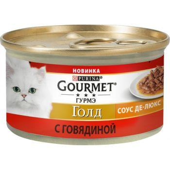 Влажный корм для кошек Purina Gourmet Gold Соус Де-Люкс с говядиной 85 г