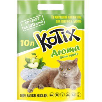 Силикагелевый наполнитель для кошачьего туалета Kotix Aroma Green Apple 3,8 л