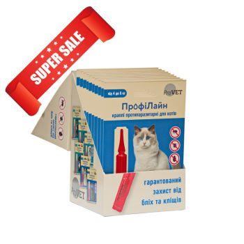 Капли на холку от блох и клещей ProVet ПрофиЛайн для кошек весом от 4 кг до 8 кг 4 шт 1 мл