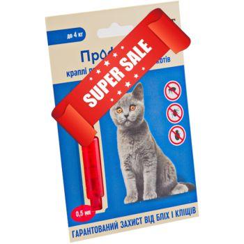 Капли на холку от блох и клещей ProVet ПрофиЛайн для кошек весом до 4 кг 4 шт х 0,5 мл
