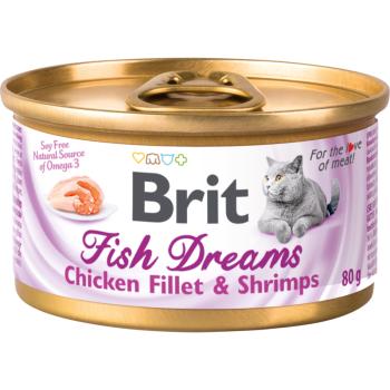 Влажный корм для кошек Brit Fish Chicken Fillet & Shrimps 80 г
