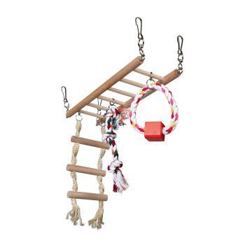 Мост для грызунов Trixie подвесной с игрушками 29 x 25 x 9 см (натуральные материалы)