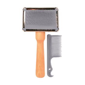 Щётка-пуходёрка с деревянной ручкой и пластиковая расчёска Trixie 6 см / 13 см, набор - dgs