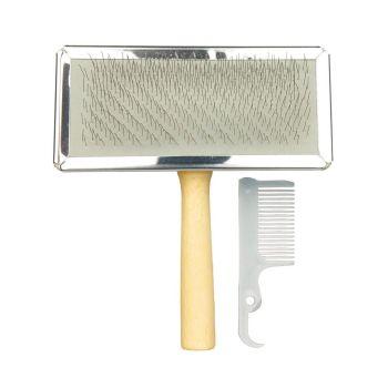 Щётка-пуходёрка с деревянной ручкой и пластиковая расчёска Trixie 11 см / 14 см, набор - cts