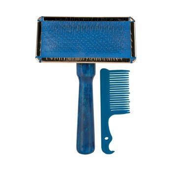 Щётка-пуходёрка с деревянной ручкой и пластиковая расчёска Trixie 9 см / 13 см, набор - rds