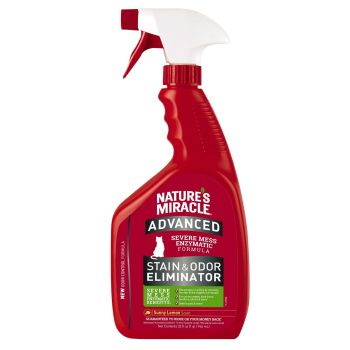 Спрей-устранитель Nature's Miracle «Advanced Stain and Odor Eliminator. Sunny Lemon Scent» для удаления пятен и запахов от кошек 946 мл
