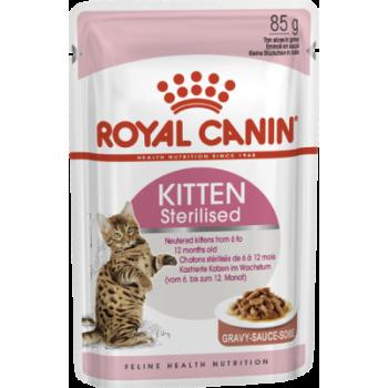 Акция 8+4! Влажный корм для кошек Royal Canin Kitten Sterilised Sauce 85 г х 12 шт