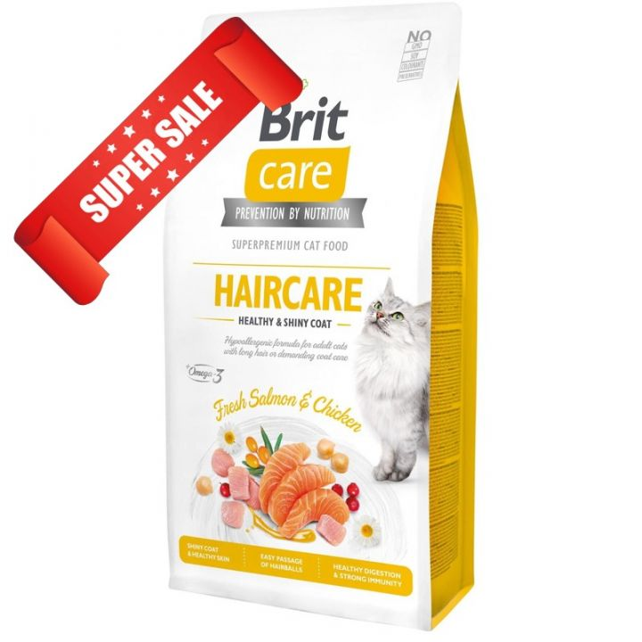 Сухой корм для кошек Brit Care Grain-Free Haircare Healthy & Shiny Coat Fresh Salmon & Chicken 2 кг